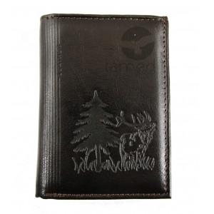 Myśliwski portfel skórzany, motyw ryczącego byka